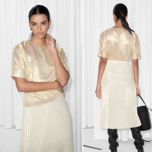 & Other Stories Metallic Puff Blouse